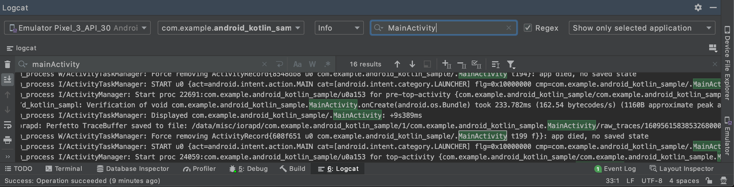 android studio logcat filter